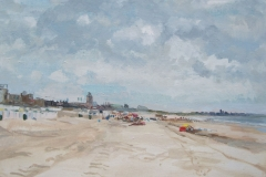 Katwijk aan Zee, Strandgezicht 70x50 olieverf op doek